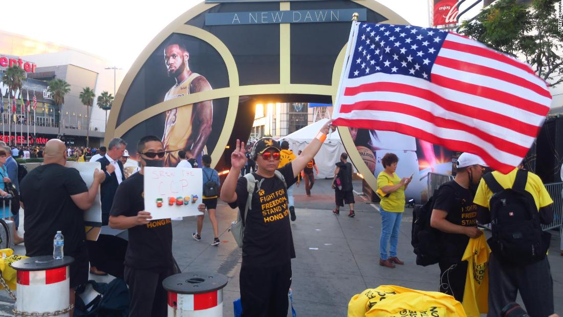 NBA fans protest China with pro-Hong Kong T-shirt giveaway in Los Angeles
